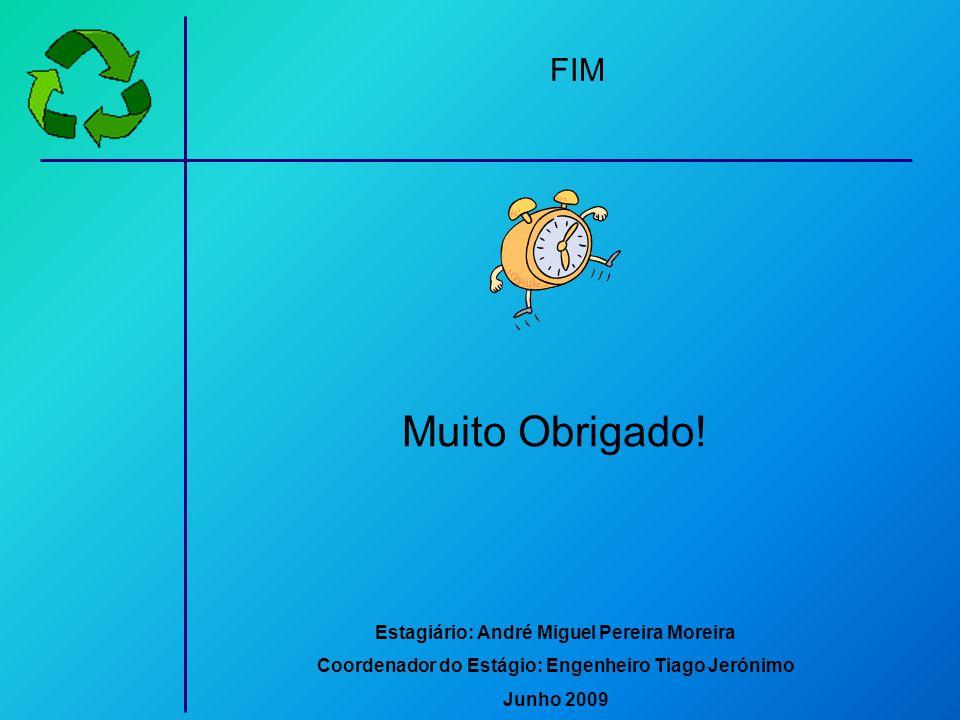 Muito Obrigado! Estagiário: André Miguel Pereira Moreira Coordenador do Estágio: Engenheiro Tiago Jerónimo Junho 2009 FIM