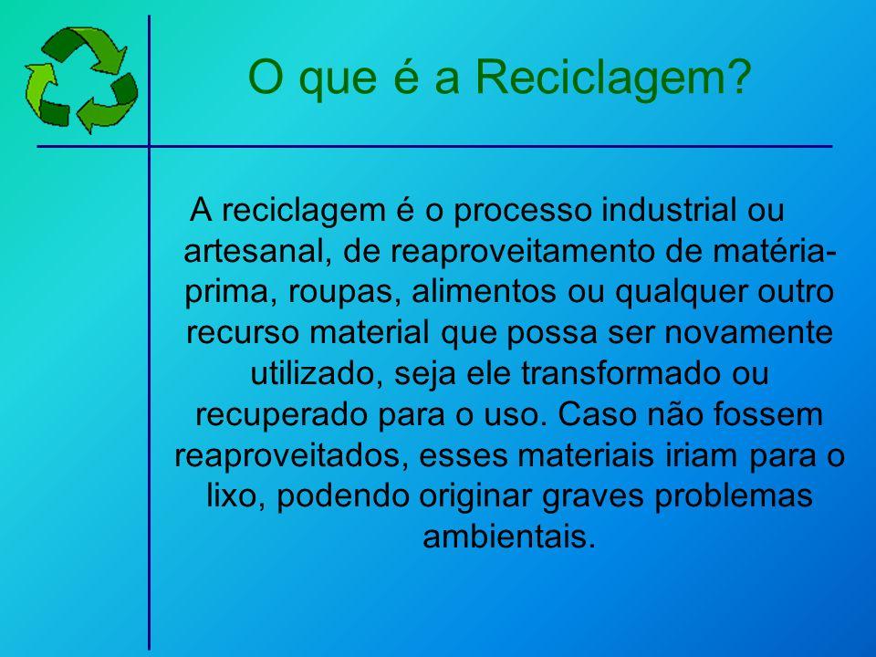 O que é a Reciclagem? A reciclagem é o processo industrial ou artesanal, de reaproveitamento de matéria- prima, roupas, alimentos ou qualquer outro re