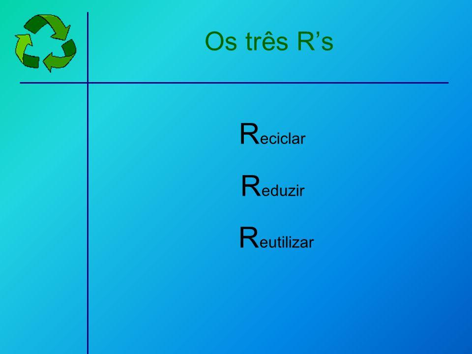R eciclar R eduzir R eutilizar Os três Rs