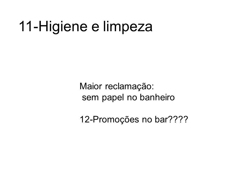 11-Higiene e limpeza Maior reclamação: sem papel no banheiro 12-Promoções no bar????