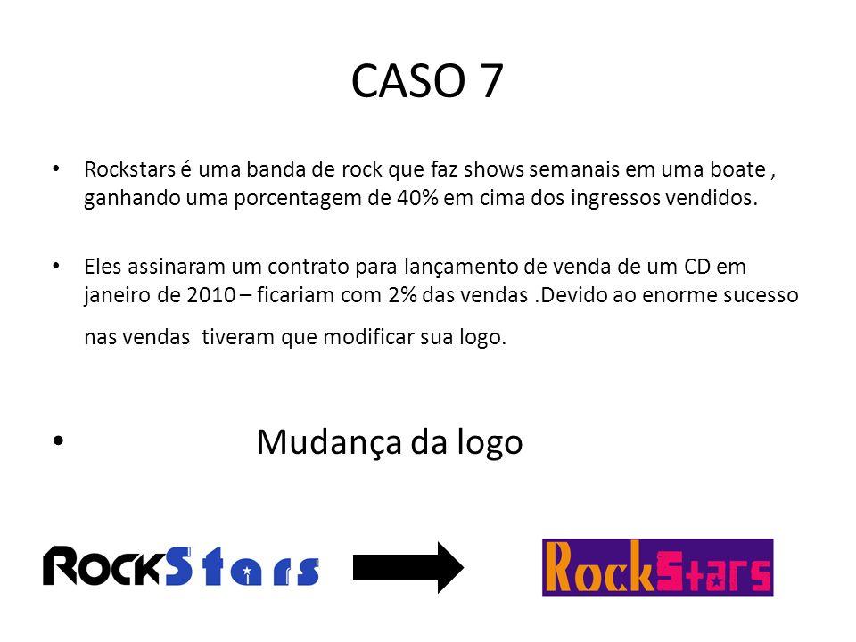 CASO 7 Rockstars é uma banda de rock que faz shows semanais em uma boate, ganhando uma porcentagem de 40% em cima dos ingressos vendidos. Eles assinar
