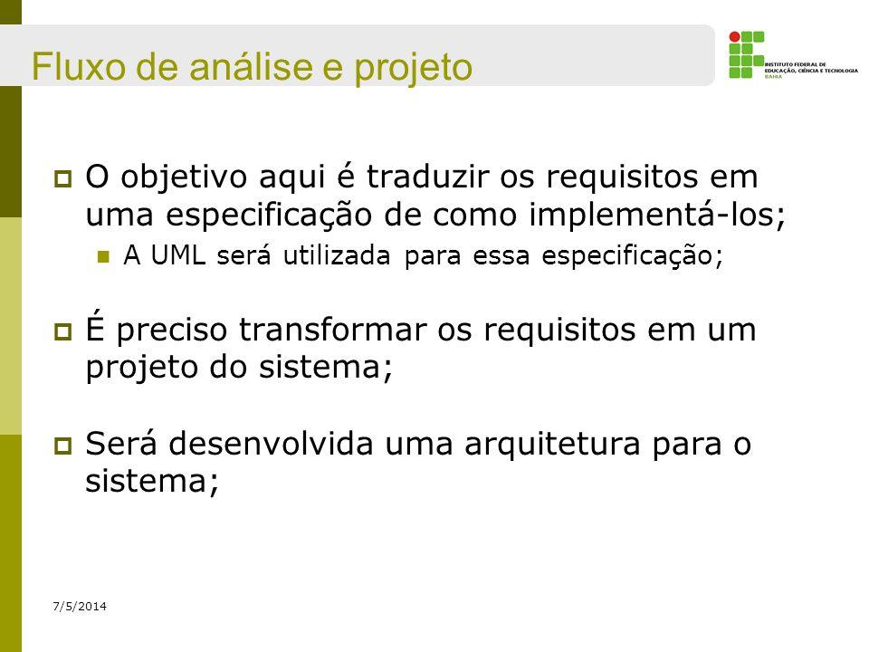 Fluxo de análise e projeto 7/5/2014 O objetivo aqui é traduzir os requisitos em uma especificação de como implementá-los; A UML será utilizada para es