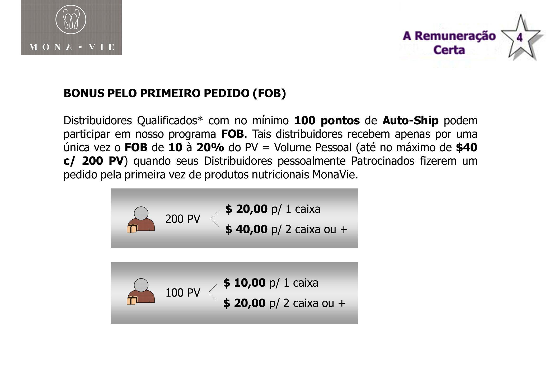 BONUS PELO PRIMEIRO PEDIDO (FOB) Distribuidores Qualificados* com no mínimo 100 pontos de Auto-Ship podem participar em nosso programa FOB. Tais distr