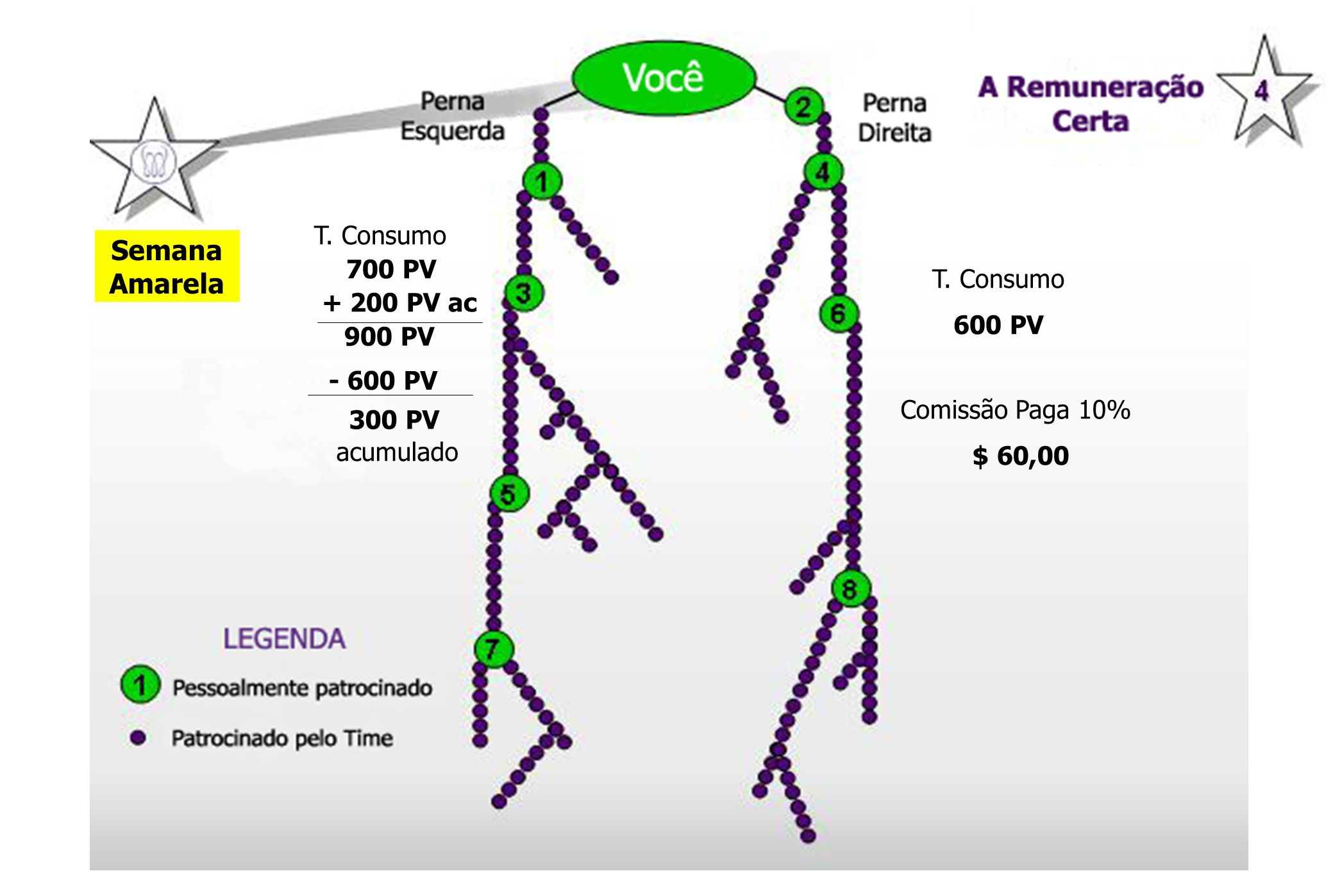 Semana Amarela T. Consumo 700 PV + 200 PV ac 900 PV T. Consumo 600 PV Comissão Paga 10% $ 60,00 - 600 PV 300 PV acumulado