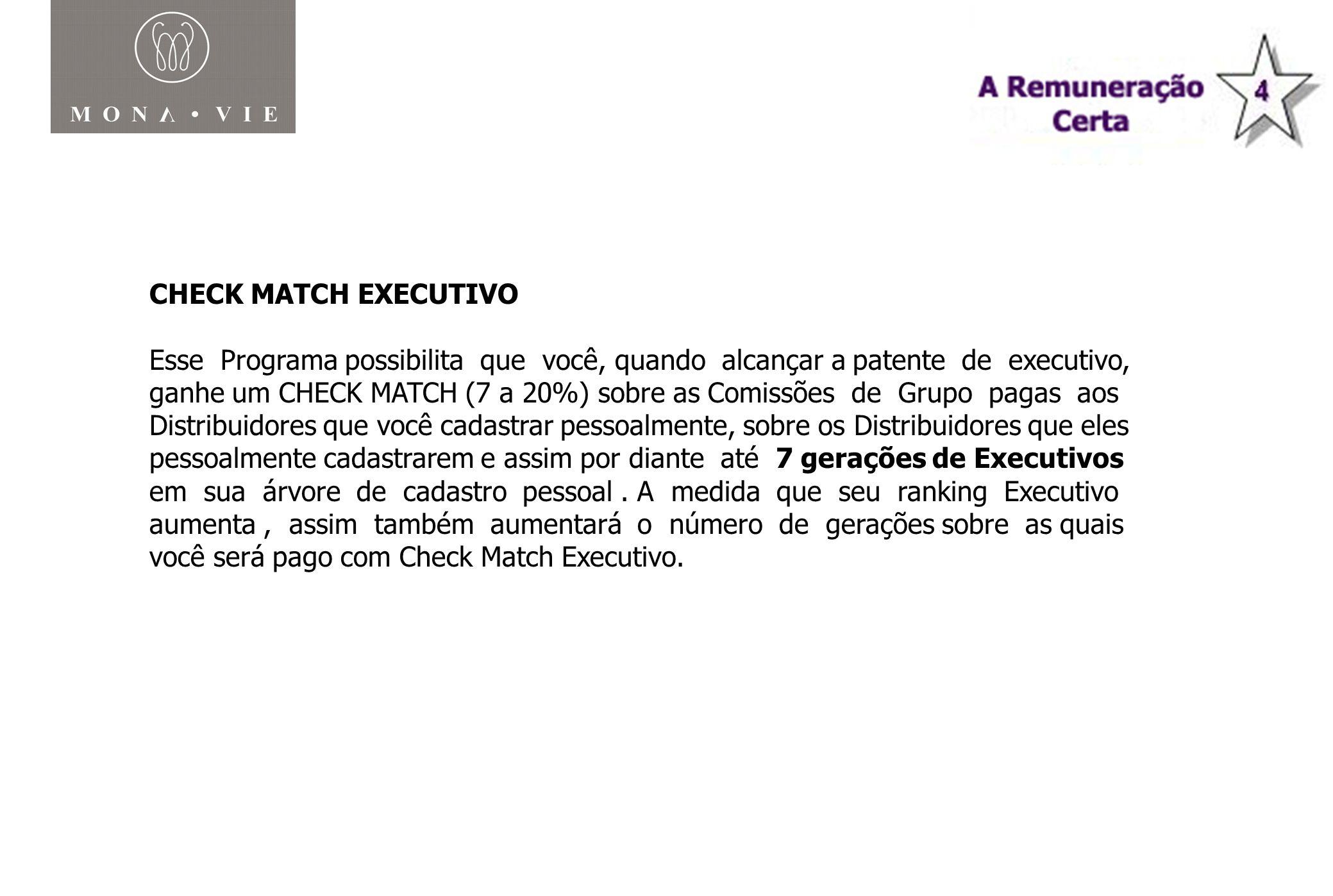 Plano de Compensação Monavie CHECK MATCH EXECUTIVO Esse Programa possibilita que você, quando alcançar a patente de executivo, ganhe um CHECK MATCH (7