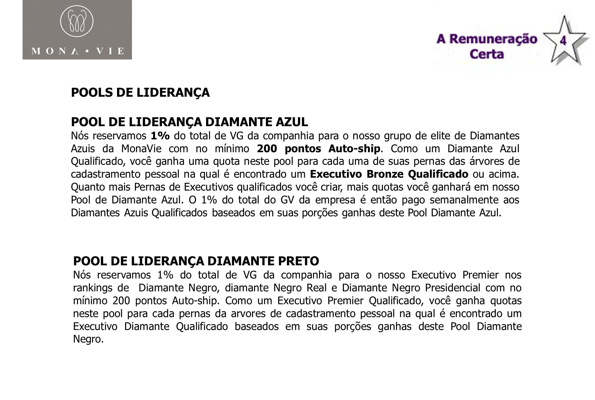 POOLS DE LIDERANÇA POOL DE LIDERANÇA DIAMANTE AZUL Nós reservamos 1% do total de VG da companhia para o nosso grupo de elite de Diamantes Azuis da Mon