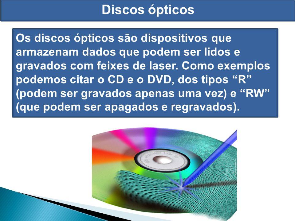 Discos ópticos Os discos ópticos são dispositivos que armazenam dados que podem ser lidos e gravados com feixes de laser.