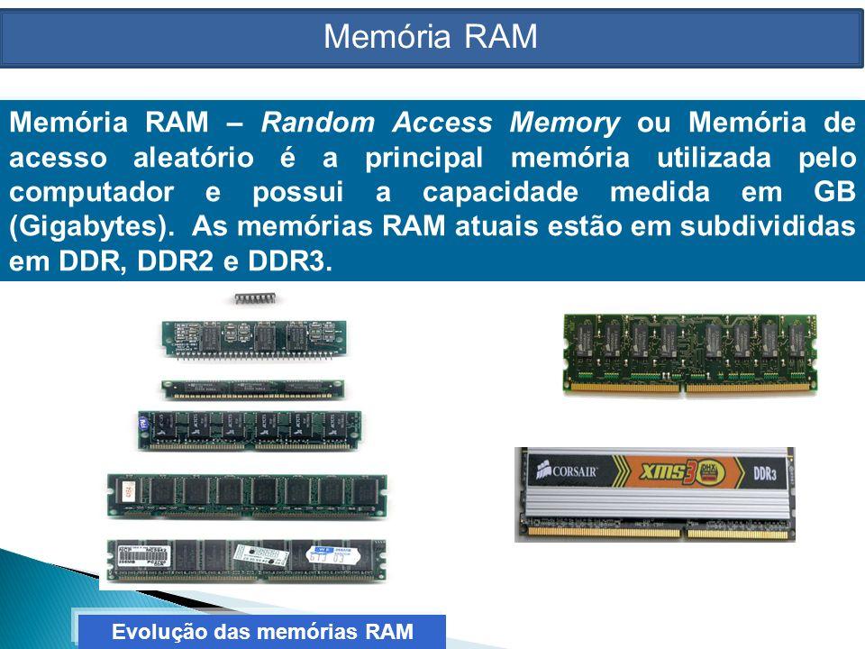 Memória RAM – Random Access Memory ou Memória de acesso aleatório é a principal memória utilizada pelo computador e possui a capacidade medida em GB (Gigabytes).