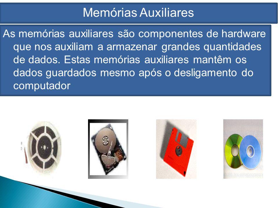 Memórias Auxiliares As memórias auxiliares são componentes de hardware que nos auxiliam a armazenar grandes quantidades de dados.