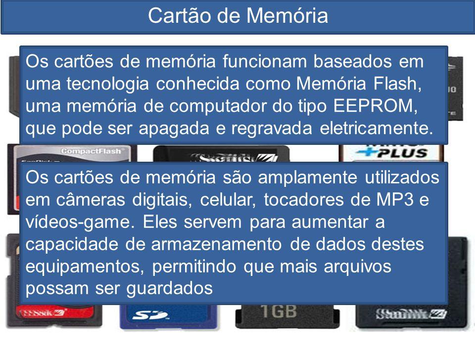 Cartão de Memória Os cartões de memória funcionam baseados em uma tecnologia conhecida como Memória Flash, uma memória de computador do tipo EEPROM, que pode ser apagada e regravada eletricamente.