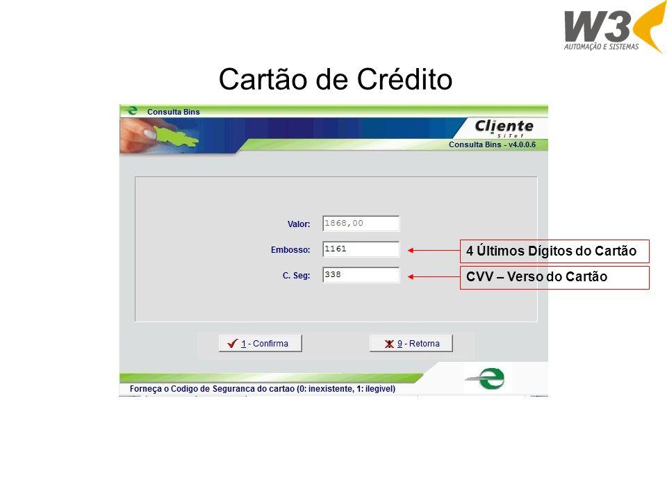 4 Últimos Dígitos do CartãoCVV – Verso do Cartão