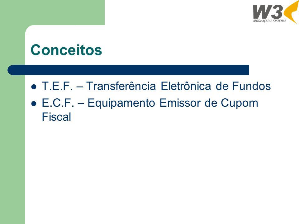 Conceitos T.E.F. – Transferência Eletrônica de Fundos E.C.F. – Equipamento Emissor de Cupom Fiscal