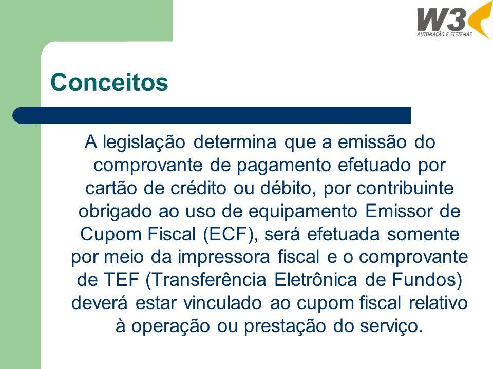 Conceitos A legislação determina que a emissão do comprovante de pagamento efetuado por cartão de crédito ou débito, por contribuinte obrigado ao uso