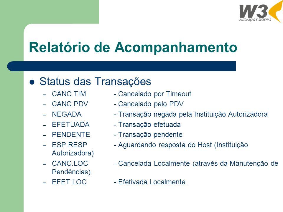 Relatório de Acompanhamento Status das Transações – CANC.TIM- Cancelado por Timeout – CANC.PDV- Cancelado pelo PDV – NEGADA- Transação negada pela Instituição Autorizadora – EFETUADA- Transação efetuada – PENDENTE- Transação pendente – ESP.RESP- Aguardando resposta do Host (Instituição Autorizadora) – CANC.LOC- Cancelada Localmente (através da Manutenção de Pendências).