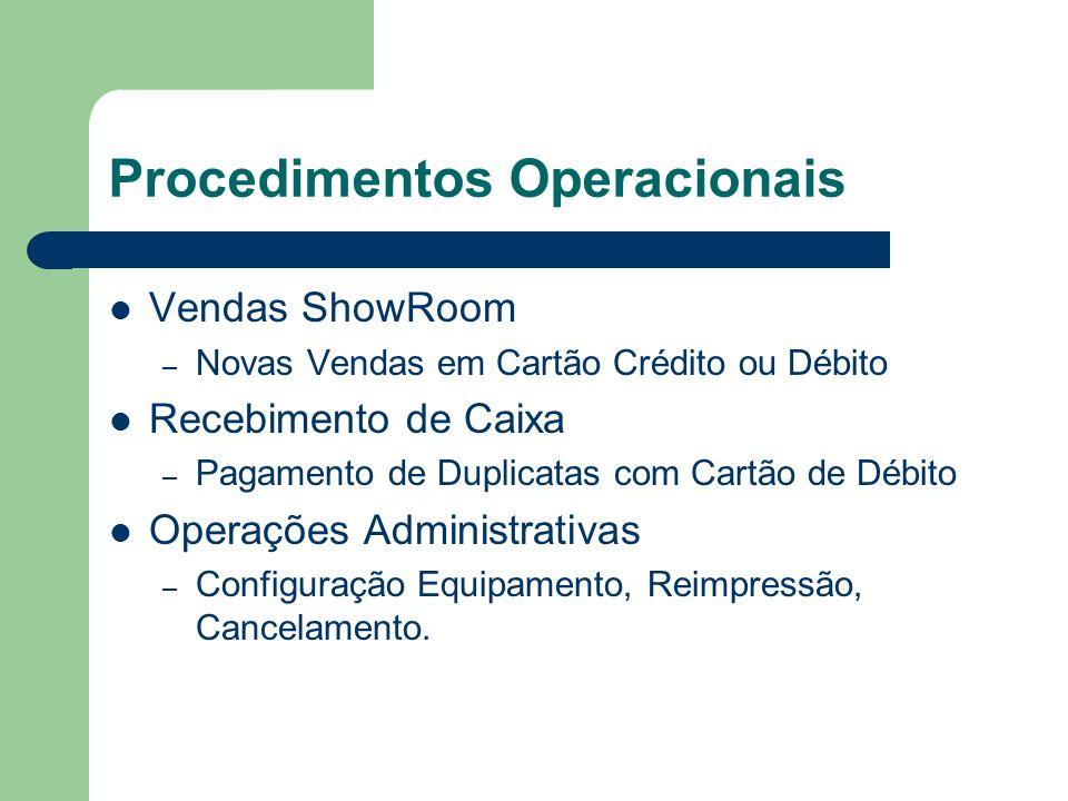 Procedimentos Operacionais Vendas ShowRoom – Novas Vendas em Cartão Crédito ou Débito Recebimento de Caixa – Pagamento de Duplicatas com Cartão de Débito Operações Administrativas – Configuração Equipamento, Reimpressão, Cancelamento.