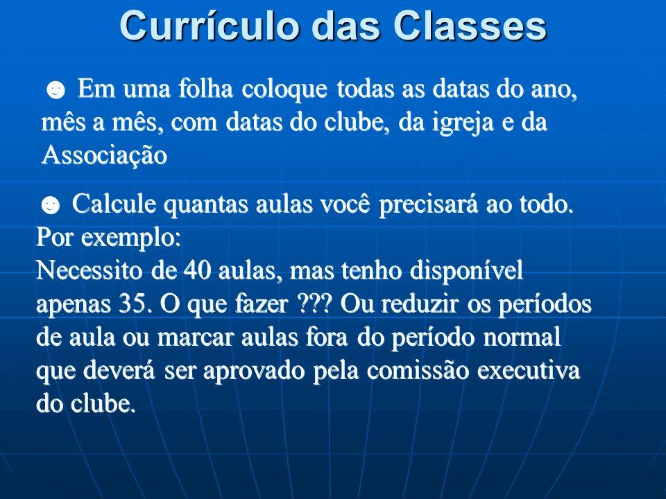 Currículo das Classes Tenha em mãos o Programa Anual do Clube Veja quantas datas disponíveis para Reunião Regular Tenha em mãos o Currículo de sua cla