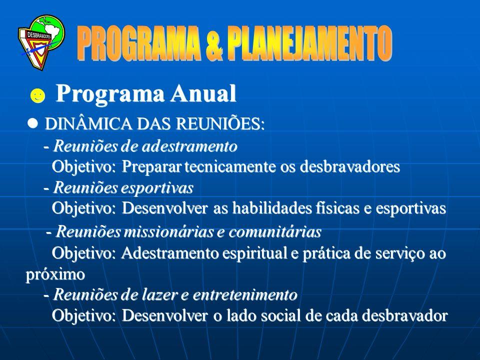 Programa Anual Baseado num calendário de 9-10 meses Reuniões regulares: treinamento p/ novatos Eventos especiais: aniversário do Clube, Dia Mundial, V