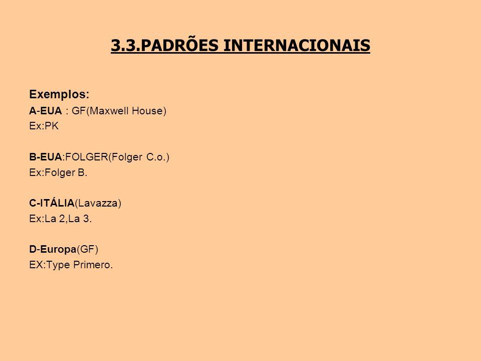 3.3.PADRÕES INTERNACIONAIS Exemplos: A-EUA : GF(Maxwell House) Ex:PK B-EUA:FOLGER(Folger C.o.) Ex:Folger B. C-ITÁLIA(Lavazza) Ex:La 2,La 3. D-Europa(G