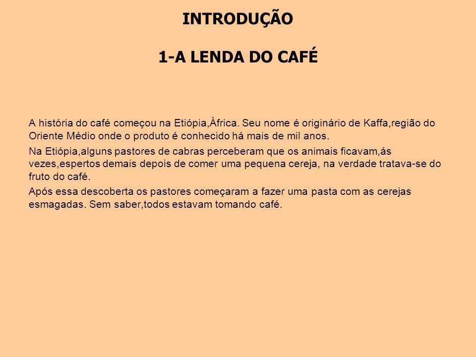 INTRODUÇÃO 1-A LENDA DO CAFÉ A história do café começou na Etiópia,Àfrica. Seu nome é originário de Kaffa,região do Oriente Médio onde o produto é con