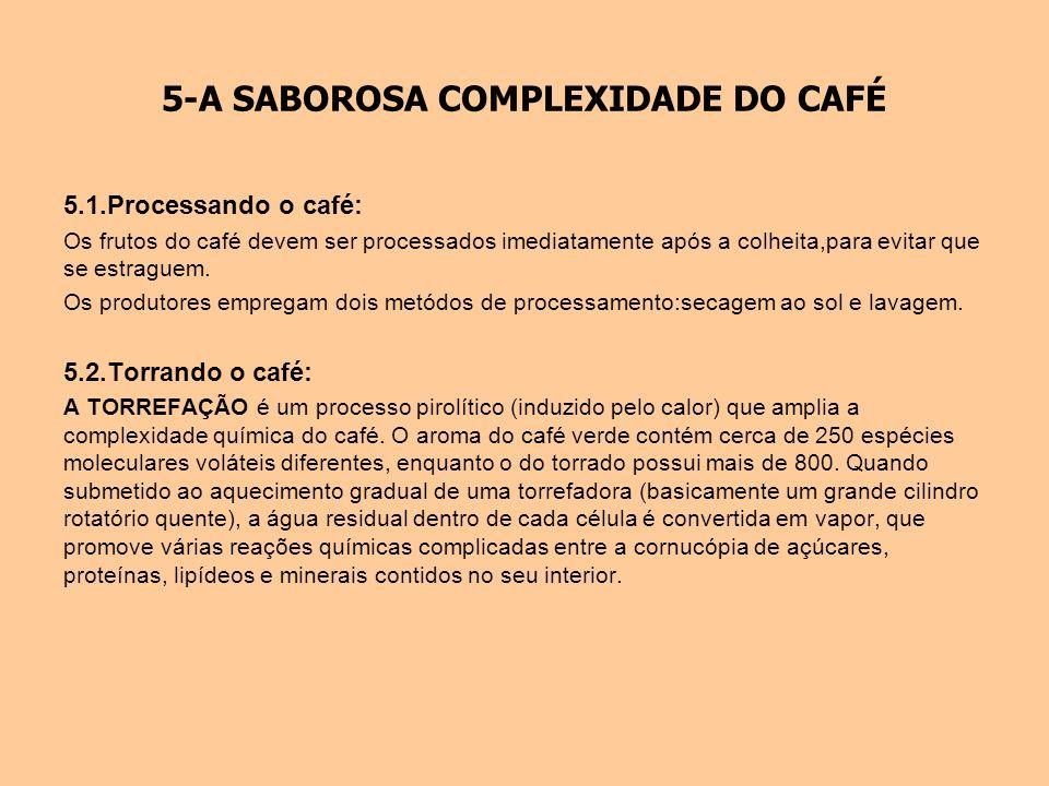 5-A SABOROSA COMPLEXIDADE DO CAFÉ 5.1.Processando o café: Os frutos do café devem ser processados imediatamente após a colheita,para evitar que se est