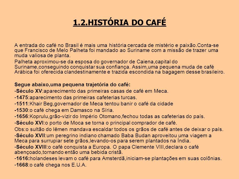 1.2.HISTÓRIA DO CAFÉ A entrada do café no Brasil é mais uma história cercada de mistério e paixão.Conta-se que Francisco de Melo Palheta foi mandado a