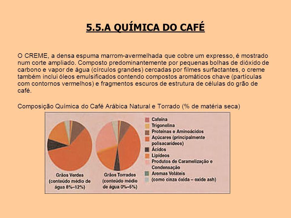 5.5.A QUÍMICA DO CAFÉ O CREME, a densa espuma marrom-avermelhada que cobre um expresso, é mostrado num corte ampliado. Composto predominantemente por