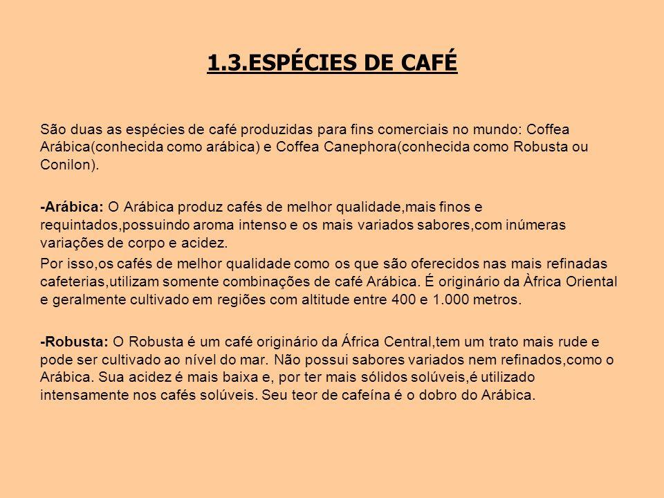 1.3.ESPÉCIES DE CAFÉ São duas as espécies de café produzidas para fins comerciais no mundo: Coffea Arábica(conhecida como arábica) e Coffea Canephora(