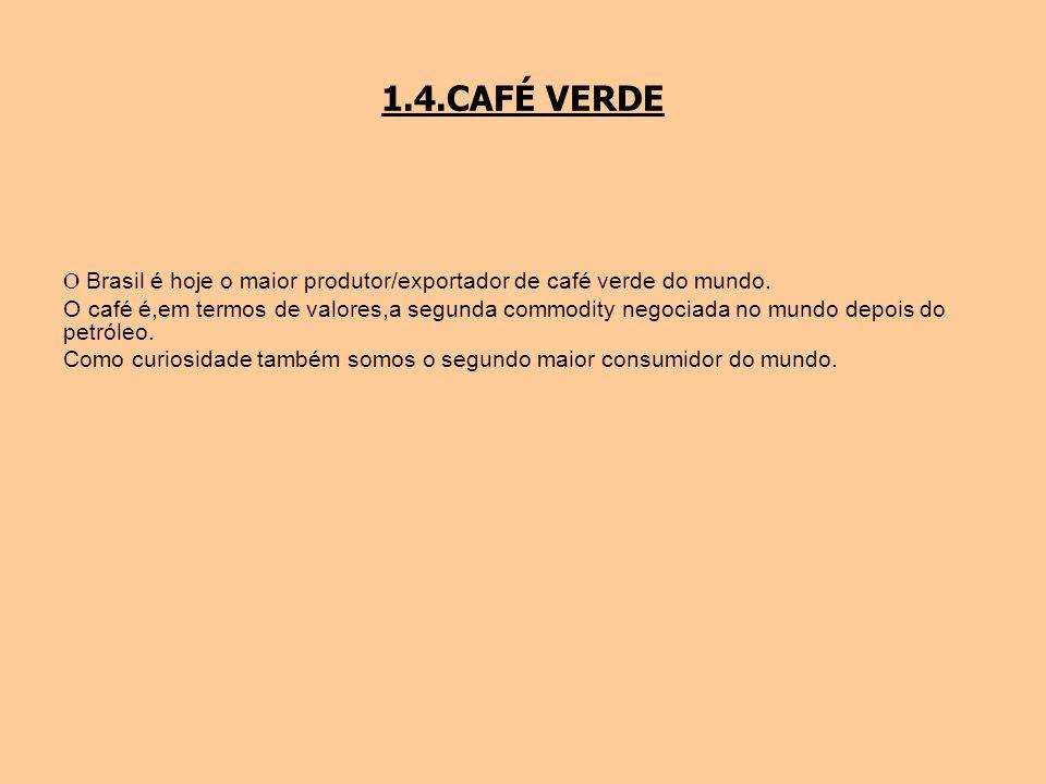 1.4.CAFÉ VERDE O Brasil é hoje o maior produtor/exportador de café verde do mundo. O café é,em termos de valores,a segunda commodity negociada no mund