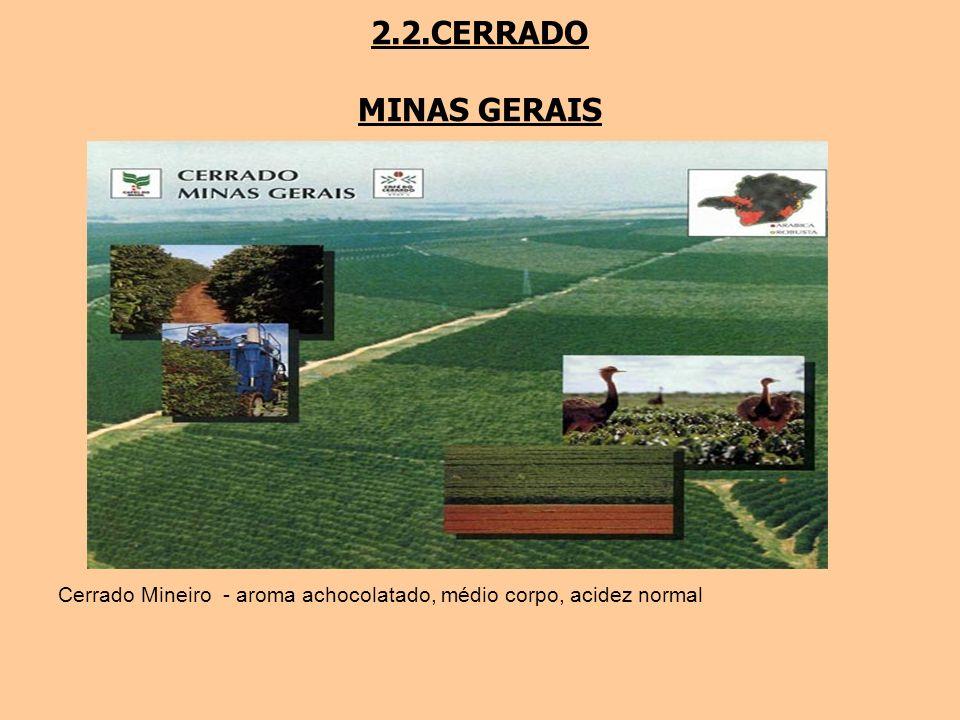 2.2.CERRADO MINAS GERAIS Cerrado Mineiro - aroma achocolatado, médio corpo, acidez normal