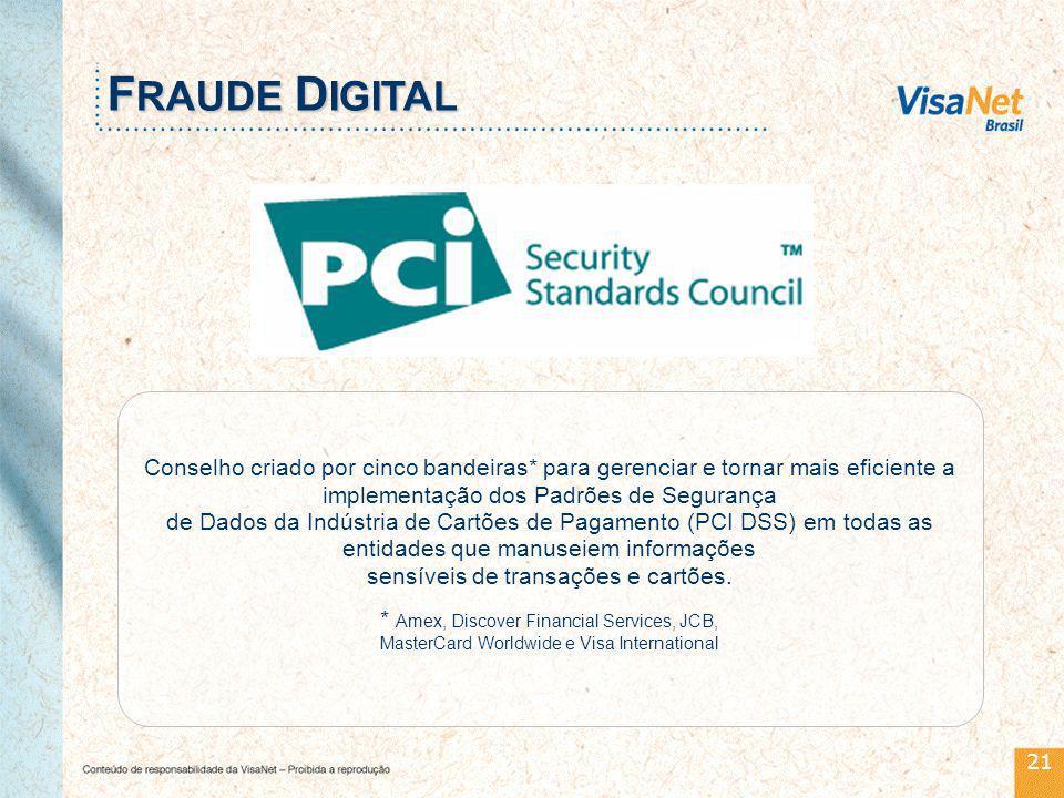 21 Conselho criado por cinco bandeiras* para gerenciar e tornar mais eficiente a implementação dos Padrões de Segurança de Dados da Indústria de Cartões de Pagamento (PCI DSS) em todas as entidades que manuseiem informações sensíveis de transações e cartões.