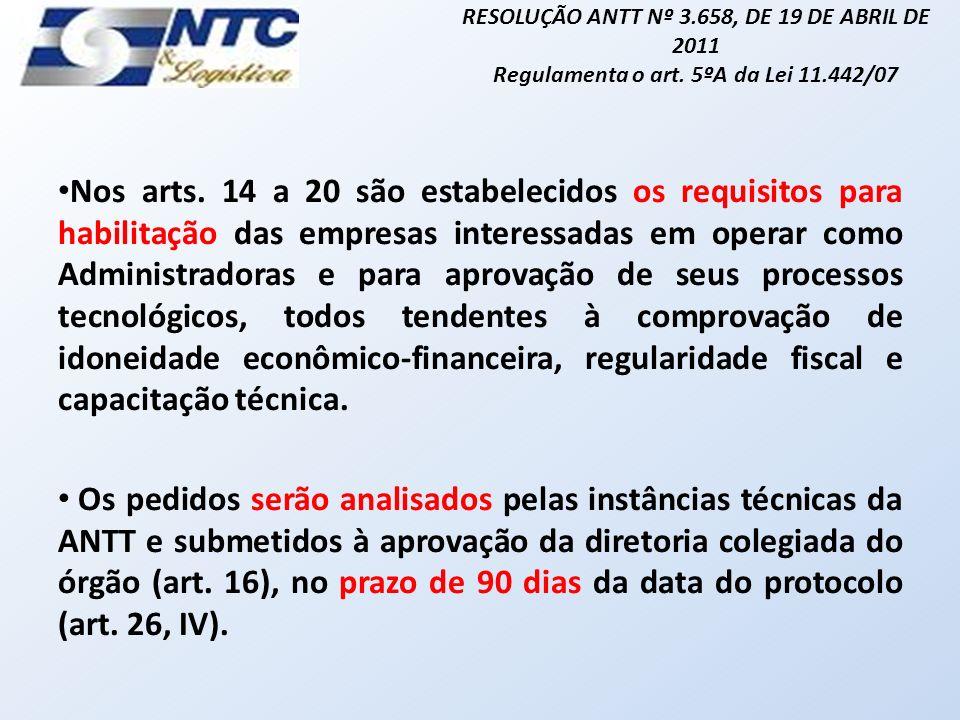 RESOLUÇÃO ANTT Nº 3.658, DE 19 DE ABRIL DE 2011 Regulamenta o art.