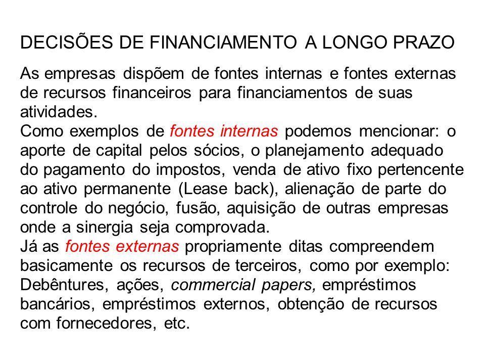 DECISÕES DE FINANCIAMENTO A LONGO PRAZO As empresas dispõem de fontes internas e fontes externas de recursos financeiros para financiamentos de suas atividades.