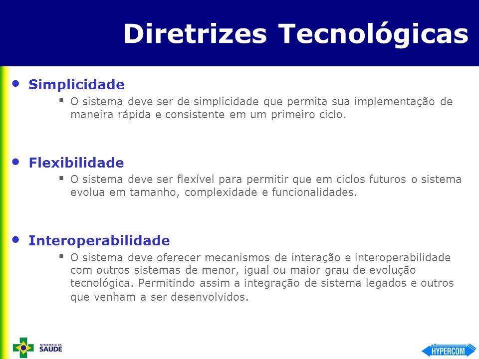 Diretrizes Tecnológicas Simplicidade O sistema deve ser de simplicidade que permita sua implementação de maneira rápida e consistente em um primeiro c