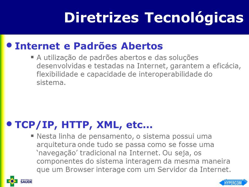 Diretrizes Tecnológicas Internet e Padrões Abertos A utilização de padrões abertos e das soluções desenvolvidas e testadas na Internet, garantem a efi