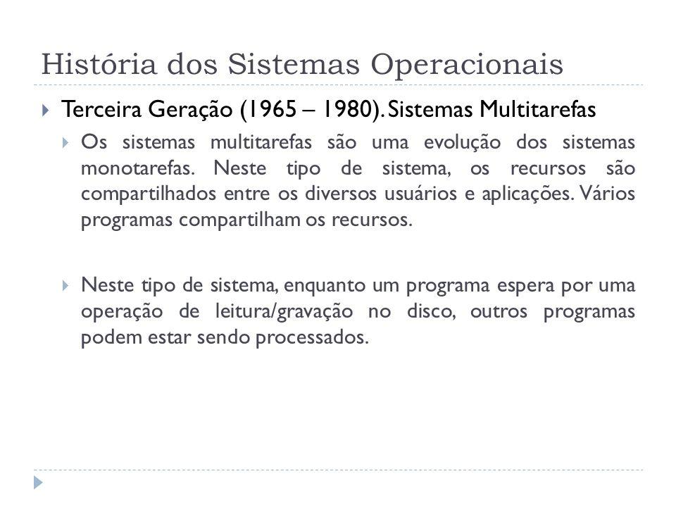 História dos Sistemas Operacionais Terceira Geração (1965 – 1980). Sistemas Multitarefas Os sistemas multitarefas são uma evolução dos sistemas monota