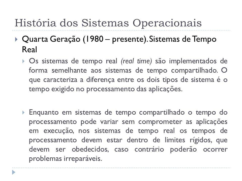História dos Sistemas Operacionais Quarta Geração (1980 – presente). Sistemas de Tempo Real Os sistemas de tempo real (real time) são implementados de