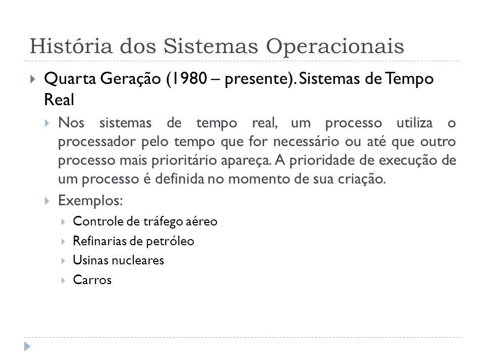 História dos Sistemas Operacionais Quarta Geração (1980 – presente). Sistemas de Tempo Real Nos sistemas de tempo real, um processo utiliza o processa