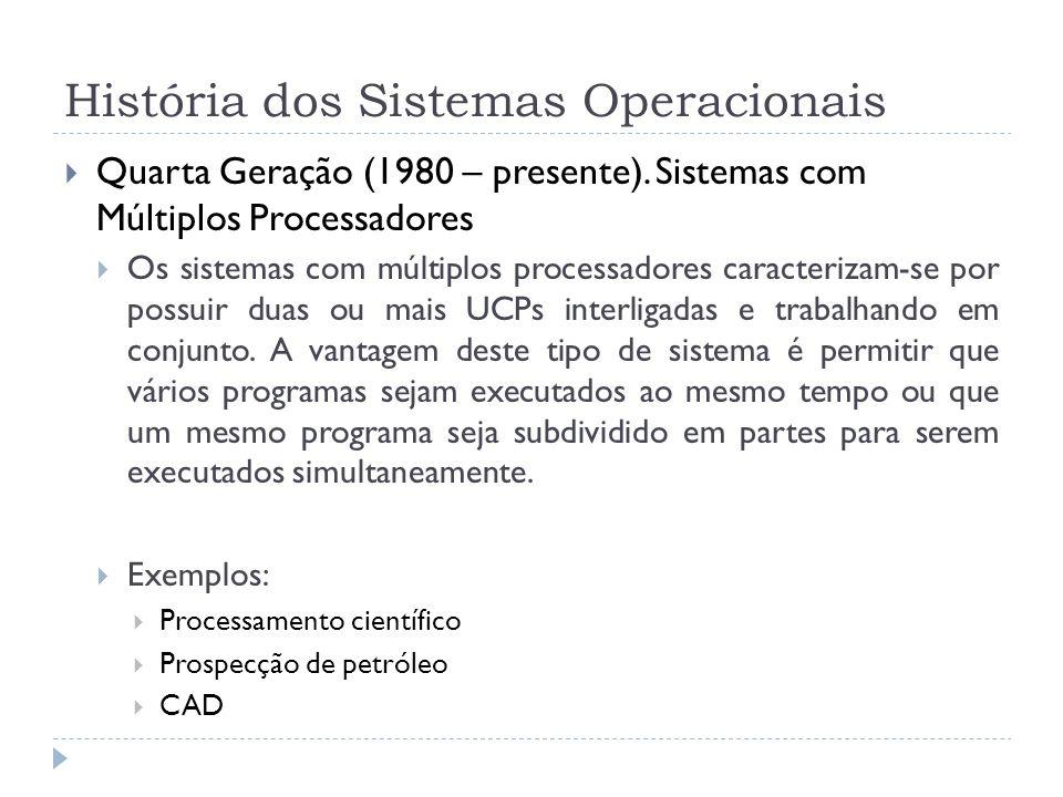 História dos Sistemas Operacionais Quarta Geração (1980 – presente). Sistemas com Múltiplos Processadores Os sistemas com múltiplos processadores cara