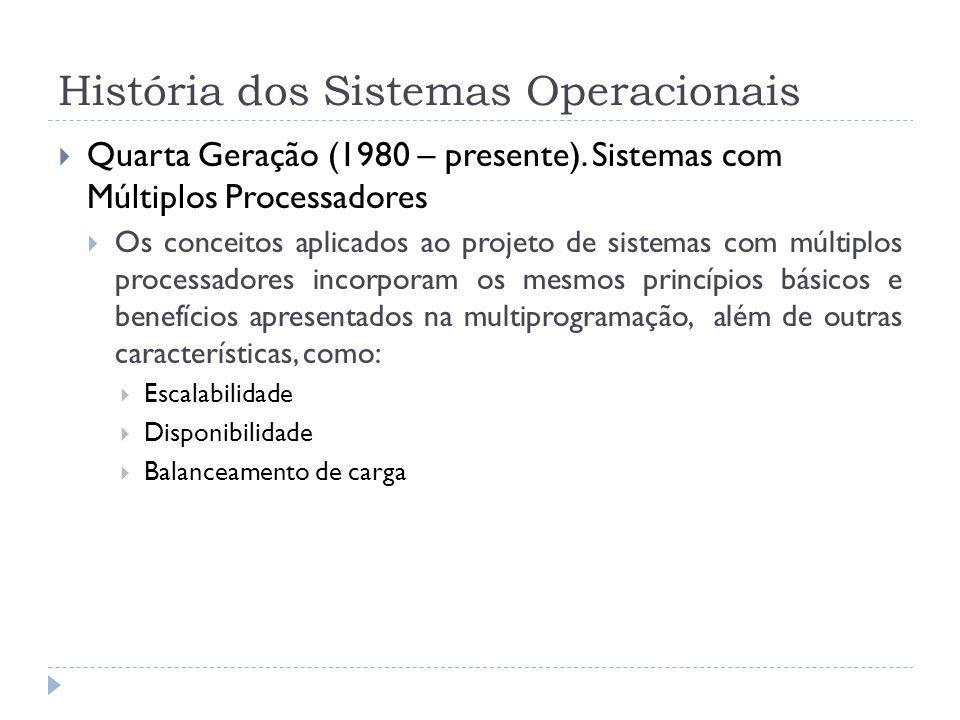 História dos Sistemas Operacionais Quarta Geração (1980 – presente). Sistemas com Múltiplos Processadores Os conceitos aplicados ao projeto de sistema