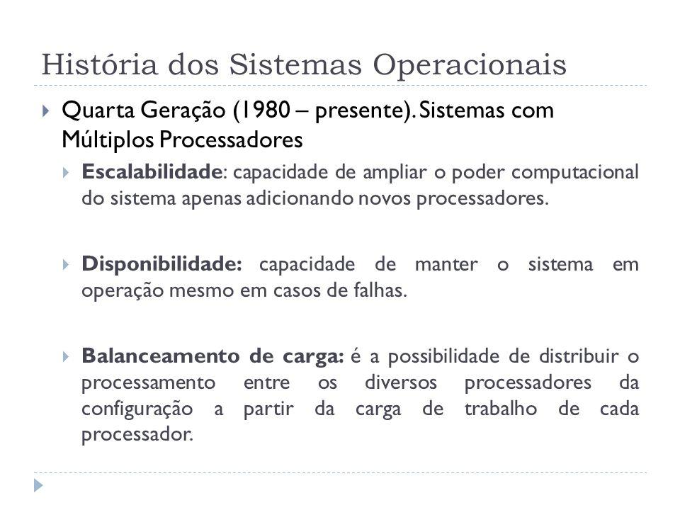 História dos Sistemas Operacionais Quarta Geração (1980 – presente). Sistemas com Múltiplos Processadores Escalabilidade: capacidade de ampliar o pode