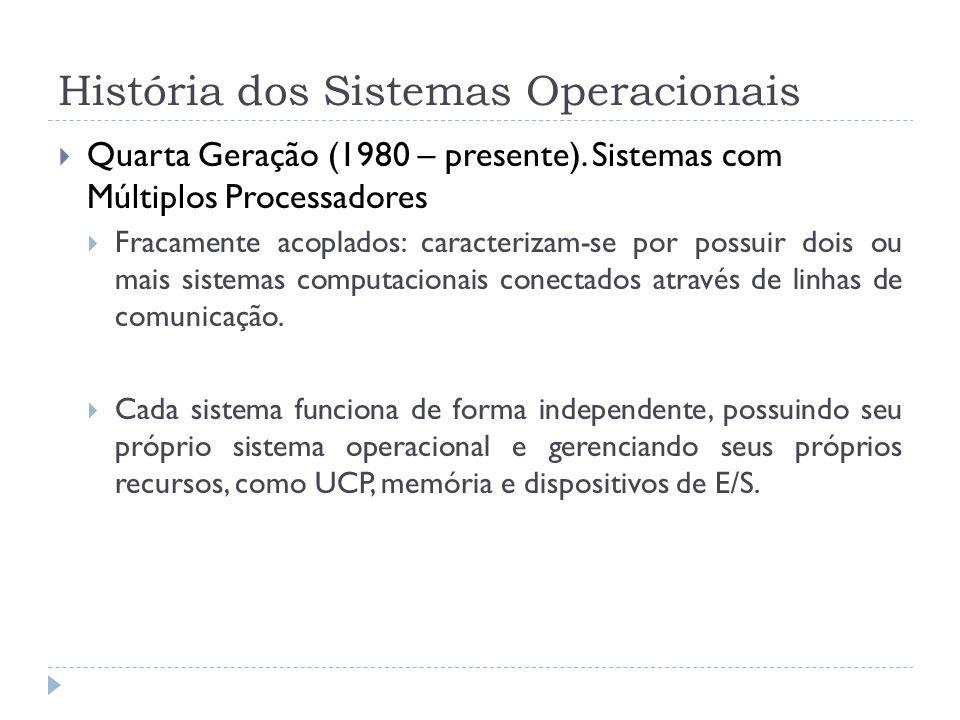 História dos Sistemas Operacionais Quarta Geração (1980 – presente). Sistemas com Múltiplos Processadores Fracamente acoplados: caracterizam-se por po