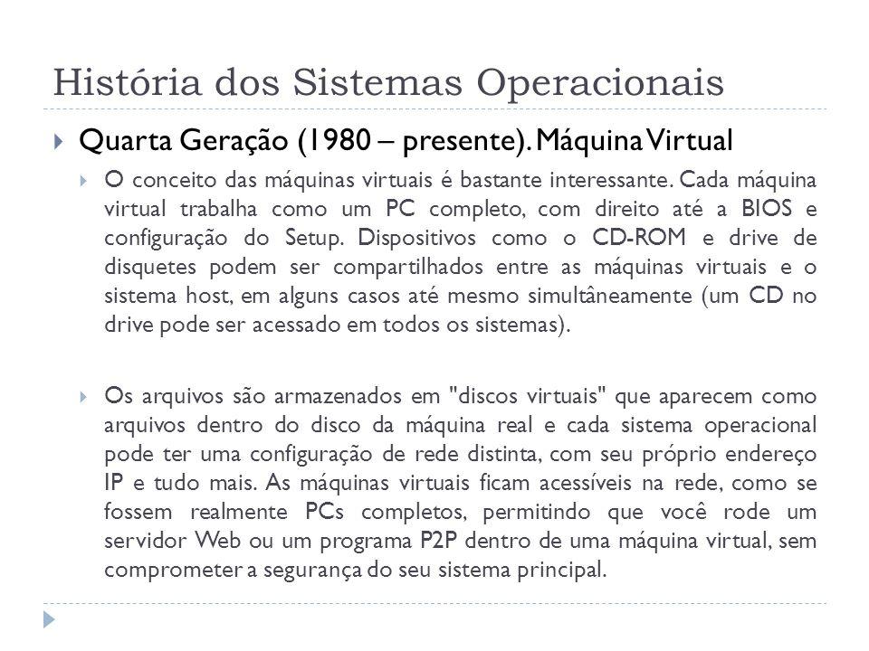História dos Sistemas Operacionais Quarta Geração (1980 – presente). Máquina Virtual O conceito das máquinas virtuais é bastante interessante. Cada má