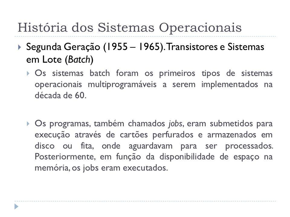 História dos Sistemas Operacionais Segunda Geração (1955 – 1965). Transistores e Sistemas em Lote (Batch) Os sistemas batch foram os primeiros tipos d