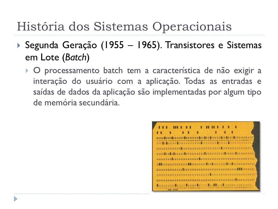 Segunda Geração (1955 – 1965). Transistores e Sistemas em Lote (Batch) O processamento batch tem a característica de não exigir a interação do usuário