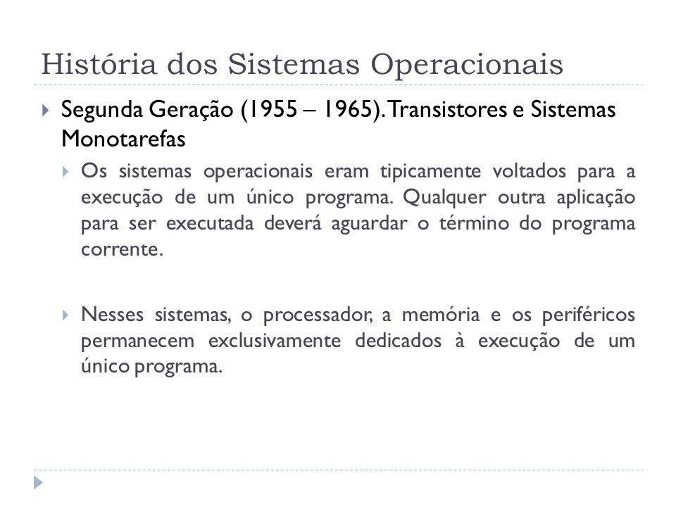 Segunda Geração (1955 – 1965). Transistores e Sistemas Monotarefas Os sistemas operacionais eram tipicamente voltados para a execução de um único prog