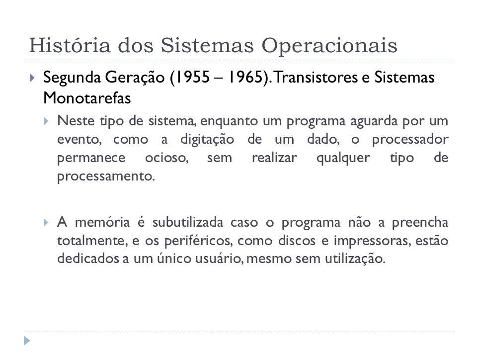 História dos Sistemas Operacionais Segunda Geração (1955 – 1965). Transistores e Sistemas Monotarefas Neste tipo de sistema, enquanto um programa agua