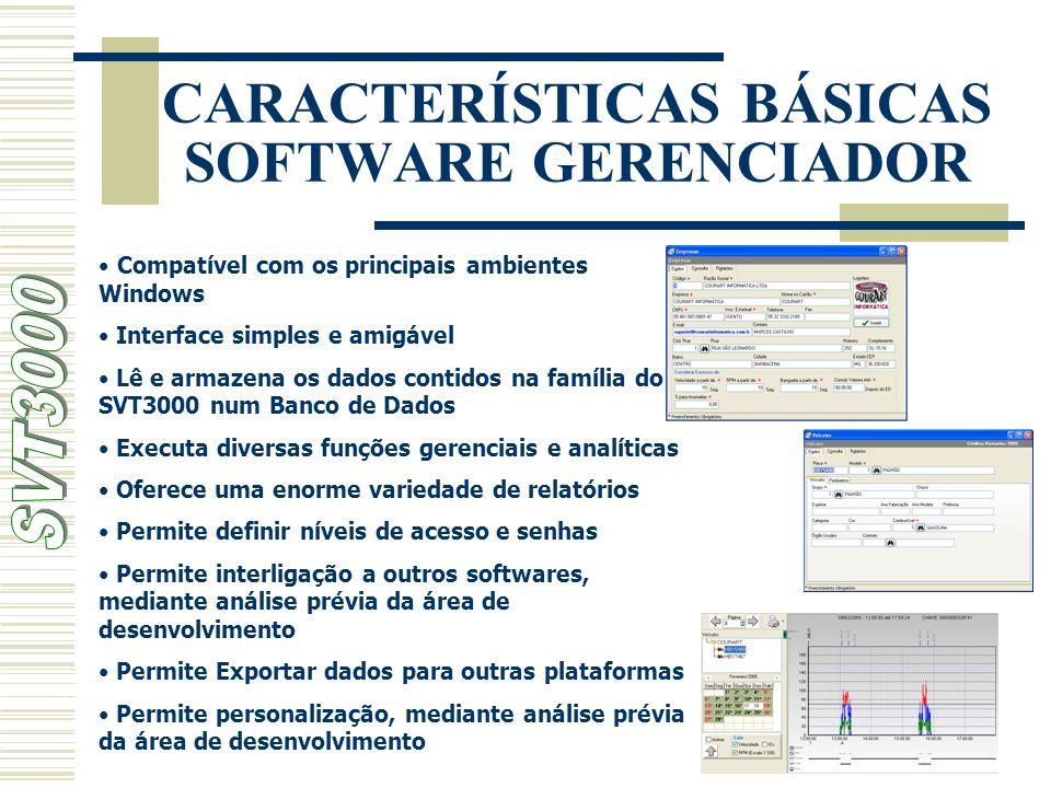 CARACTERÍSTICAS BÁSICAS SOFTWARE GERENCIADOR Compatível com os principais ambientes Windows Interface simples e amigável Lê e armazena os dados contid