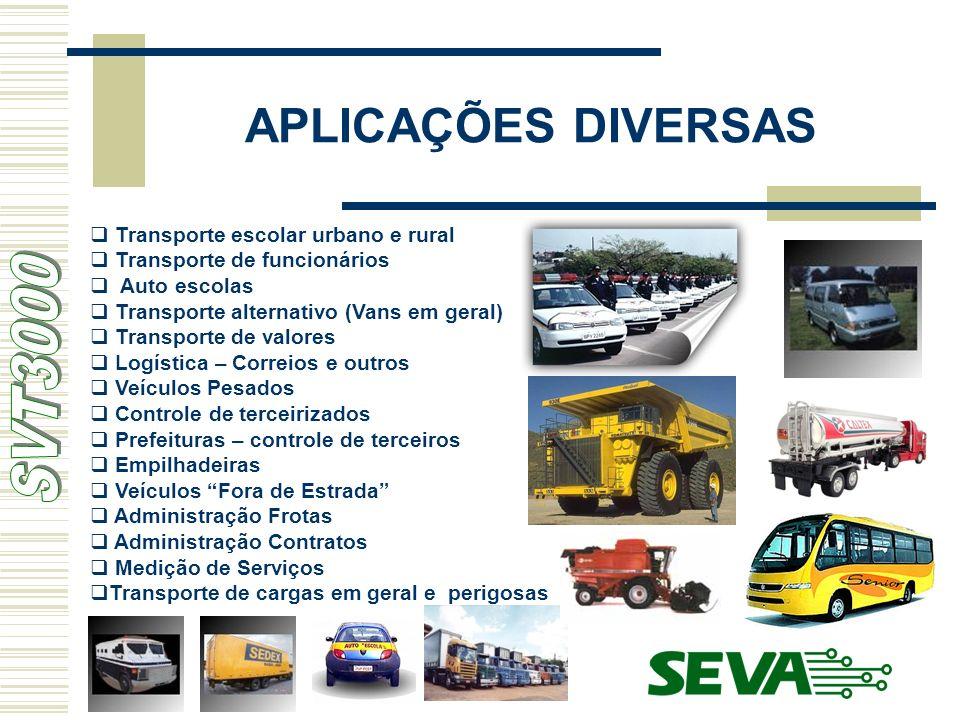 APLICAÇÕES DIVERSAS Transporte escolar urbano e rural Transporte de funcionários Auto escolas Transporte alternativo (Vans em geral) Transporte de val