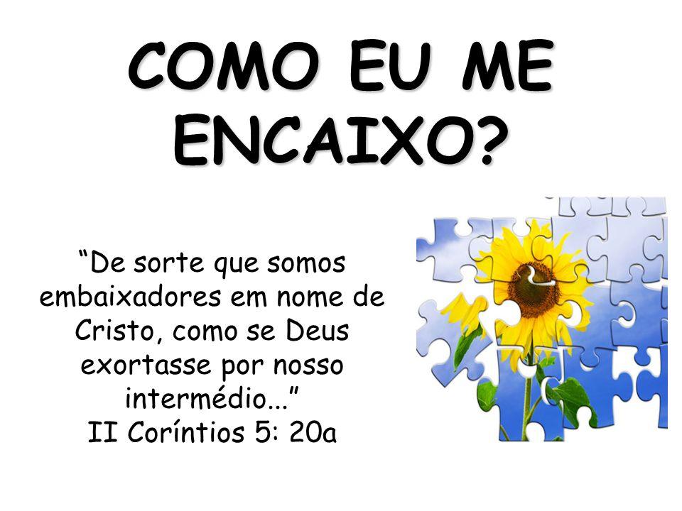 De sorte que somos embaixadores em nome de Cristo, como se Deus exortasse por nosso intermédio... II Coríntios 5: 20a COMO EU ME ENCAIXO?