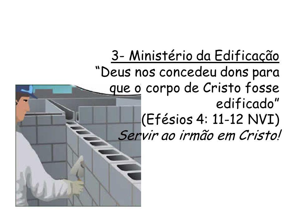 RESUMO: Ministério da Reconciliação: Aos não crentes (evangelizar) Ministério da Consolação: Em geral (consolar, ajudar, etc...) Ministério da Edificação Aos crentes (serviço)